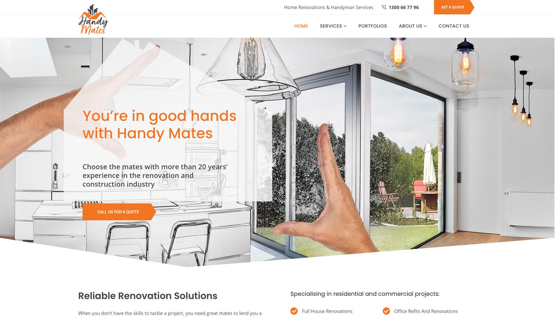 responsive design website development work - handy mates website